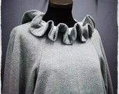 Clown Ruffle Sweatshirt Grey Gray Cotton Jersey top