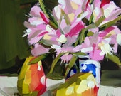 Alestroemeria in Russian Vaes and Pears original still life flower painting by moulton 8 x 8 inch on panel prattcreekart