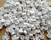 100pcs Round Tiny Buttons 2 Holes - Size 6mm White color