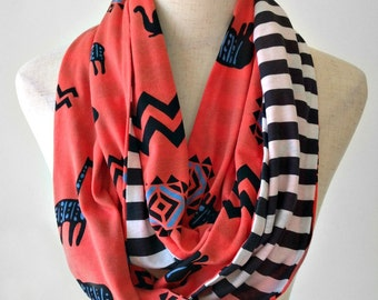 Out of Africa Infinity Scarf Circle Scarf in Orange Black Blue and White Knit Scarf Lightweight Summer Scarf Striped Scarf African Print