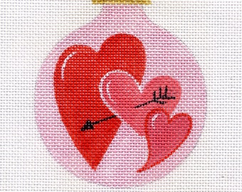 Three valentine Hearts Needlepoint Ornament - B2-02 - Jody Designs