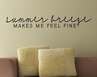 """Summer Breeze.....Beach Wall Quotes Words Removable Beach Decals Lettering 5"""" X 34"""""""