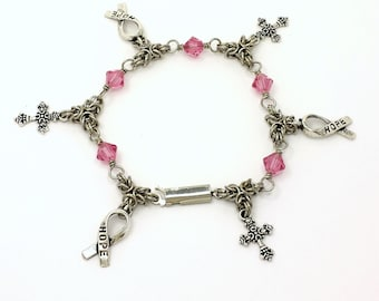 Byzantine Chainmaille Breast Cancer Awareness  Bracelet With  Hope  Awareness Ribbon  and Cross Charm with Swarovski Crystal