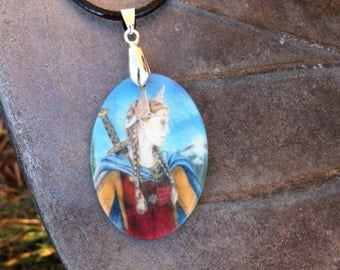 Freya Mother of Pearl Amulet by Mickie Mueller