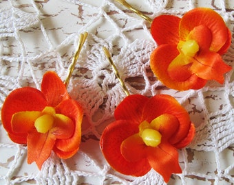 Hawaiian Orange Orchids SET OF 3 bobby pins flowers-hair clips - Weddings