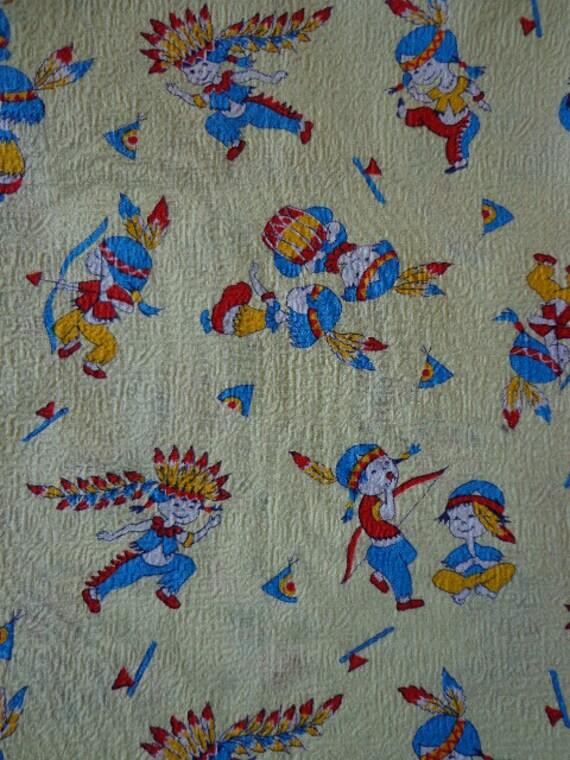 Vintage childrens seersucker fabric with western theme for Vintage childrens fabric