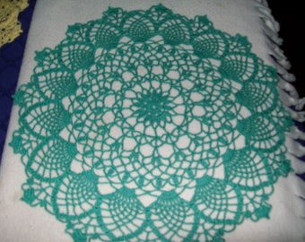 Set of 2 round doilies done in light green