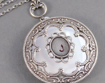 Vintage Monogram,Locket,Silver Locket,Monogram,Personalize,Mom Necklace,Antique Locket,Steampunk. Handmade jewelry by valleygirldesigns.