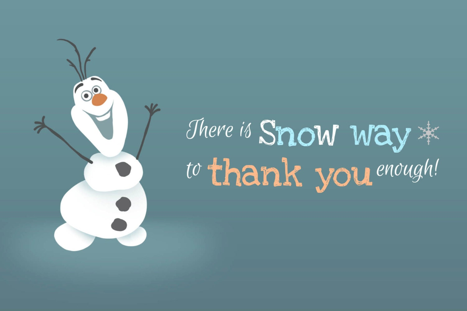 Frozen Thank You Card 4x6 by MissMurrayDesign on Etsy: https://www.etsy.com/listing/179719368/frozen-thank-you-card-4x6