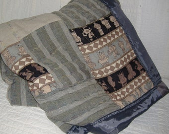 Quilt.grey stripes recycled  decorative stitches country crazy comphy one of a kind my own design random pattern