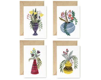 Mixed Card Set - Coloured Vase Set of Four Greeting Cards