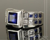Level 3 TARDIS Ring Solid Sterling Silver -  With Lab Sapphires and CZ