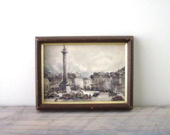 Vintage Framed Water Color Print of Gray City Scene