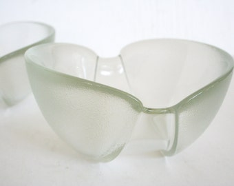 Two mid century glass bowls by Rosenthal. Studio line, Bjorn Wiinblad, candle holder, holiday decor.