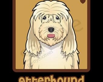 Otterhound Cartoon Heart T-Shirt Tee - Men's, Women's Ladies, Short, Long Sleeve, Youth Kids