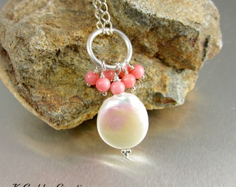 Coin Pearl Necklace, Pink Coral, Sterling Silver, Freshwater Pearl Pendant, Salmon Pink Gemstone Pendant Necklace