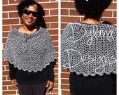 Crochet Poncho, Crochet Caplet, Women Clothing, Ponchos, Women Poncho, Crochet Vintage Poncho, Wool Poncho