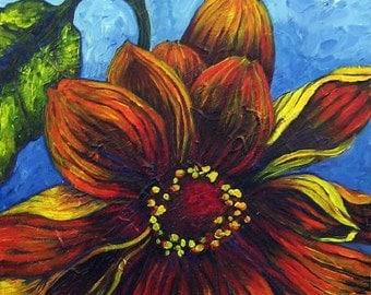 Sunflower on cobalt