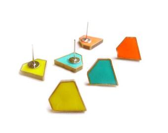 Diamond Outline Stud Earrings, Minimalist Jewelry, Geometric Minimal Post Earrings