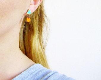 Geometric Dangle  Earrings, Dainty Triangle Hexagon Post Earrings, Minimal Post Earrings