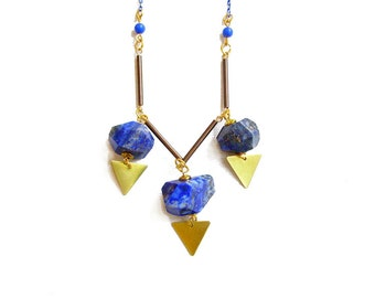 Lapis Lazuli Statement Necklace, Blue Lapis Jewelry, Semiprecious Stone Necklace - Treasure Island Collection