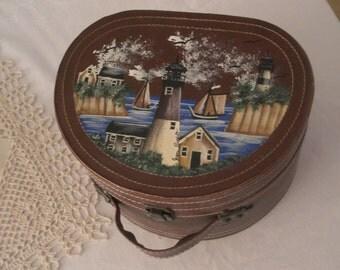 Vintage Signed & Hand Painted Hard Box Handbag with Lighthouse Scene