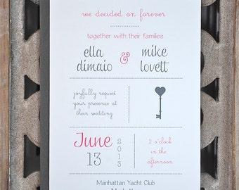 Key Wedding Invitations, Lock and Key Invitations, Key Theme, Vintage Keys, Vintage Wedding Invitations - Key To My Heart