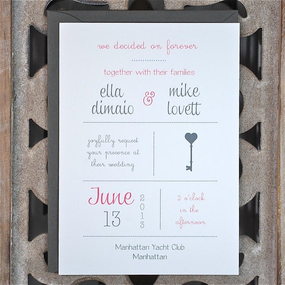 Items similar to key wedding invitations lock and key invitations key theme vintage keys - Key of create perfect contemporary style ...