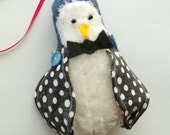 Blue Tweed Fabric Penguin Ornament with Polka Dot Wings