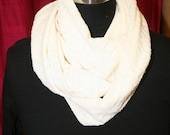 Handmade Winter White Chevron Tone on Tone Infinity Jersey Knit Scarf - Fabric - Cowl - Fashionista - Washable - Cream - Off White Texture