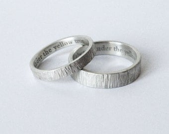 simple engraved wedding rings engraved bands wedding ring set handmade wedding bands - Simple Wedding Ring