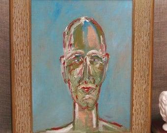 Male Portrait Painting, Wil Shepherd Studio, Hand Painted, Original Fine Art, Portraiture of Men, Handmade, Framed, Abstract, Surreal, Man