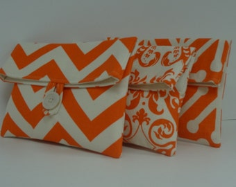 Orange Bridesmaid Clutches, Orange Wedding, Set of 3 Clutches Bridesmaid Gifts
