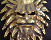 Lion Mask -  Balocoloc Gold Lion Mask -Fantasy Venetian Paper Mache Mask -Theatrical Gifts - Hang on the Wall 1992