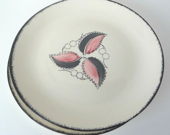 Blue Ridge Pottery Wild Cherry 2 Gray and Pink Leaf Set of 4 Dinner Plates