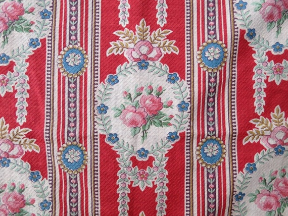 Antique floral rose wallpaper stripe fabric victorian roses for Victorian floral fabric