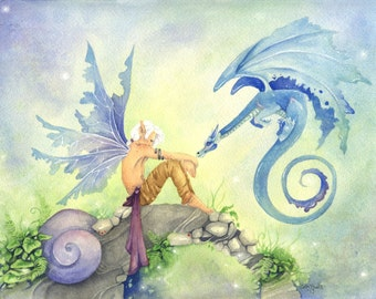 Fairy Art Original Watercolor Painting - Cheer Up - Dragon art, blue, stone, fantasy, whimsical, magic, green