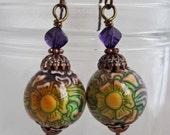 Tudor Rose mood bead earrings