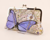 "Sparkly Big Blue Butterfly in a Field of Garden Flowers Clutch with Nickel-free Silver Tone Metal Frame and 15"" Silver Chain"
