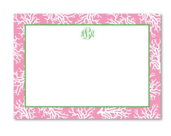 Coral Flat Correspondence Note Card - Set of 10
