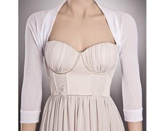 MARBLE Wedding BOLERO in White with 3/4 Sleeves Any LENGHT, White wedding Bolero, Sheer Wedding Bolero, Custom Wedding Bolero