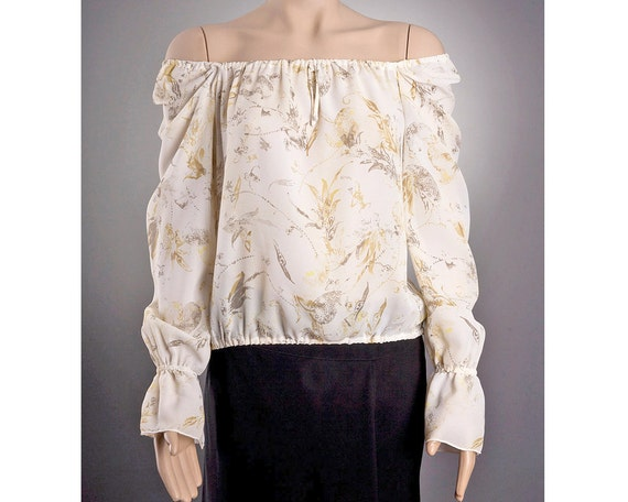 IVORY Sheer BLOUSE US size 8 and 10 with beautiful pattern