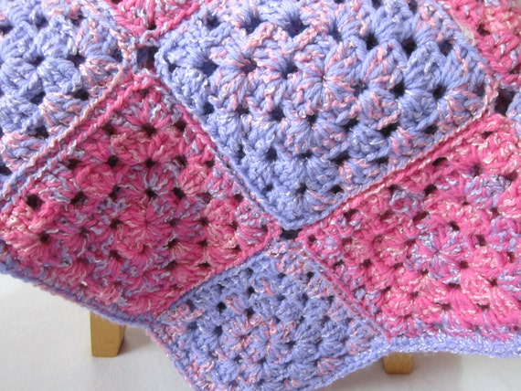Crocheted Pink and Purple Granny Square Baby Afghan, Extra Thick Baby Blanket, Baby Girl Floor Mat, Crib Blanket for Girls, Toddler Snuggie