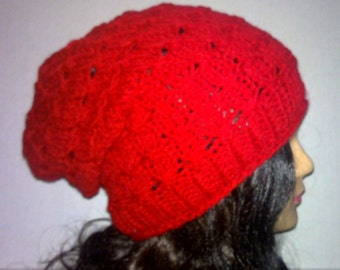 Womens Knit Hat, Red Women's Slouchy Beanie, Textured Beanie, Knitted Hat