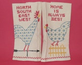 Pair Of Vintage Embroidered Calico Rooster And Chicken Kitchen Towels
