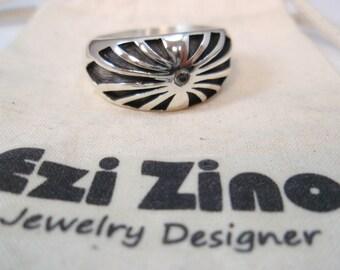 Original Ezi zino man Rising Sun Japan Flag Black Diamond 0.2 ct ring  Handmade solid Sterling Silver 925