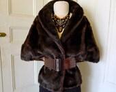 25% OFF-Holiday SALE-Faux Fur Jacket // Vintage Fake Fur Cape Stole//Dark Brown Faux Mink Stole// Vegan Fur C