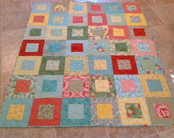 Flora Lap or Baby Girl Quilt -- pink, green, orange, blue, red -- pattern also available