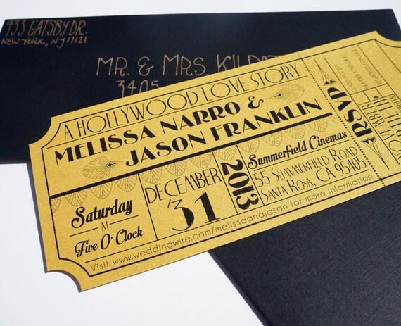 Old Hollywood Art Deco Gold Movie Ticket Wedding Invitation