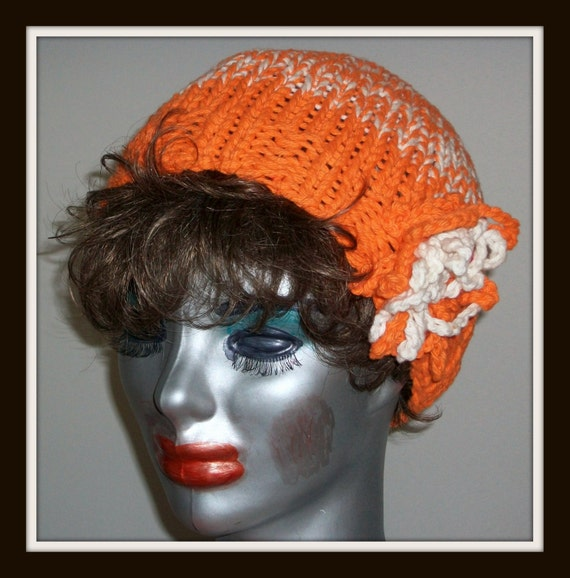 ORANGE BLOSSOM  CLOCHE   Hat  Knit  Beanie  Girls  Teens